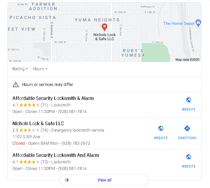 Nichols Lock And Key Vs Affordable Security Locksmith And Alarm Yuma Az
