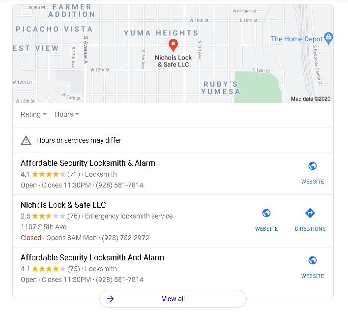 Nichols Lock And Key Vs Affordable Security Locksmith And Alarm Yuma Az